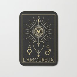 L'Amoureux or The Lovers Tarot Gold Bath Mat