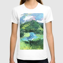 Gunnison: a vibrant acrylic mountain landscape in greens, blues, and a splash of pink T-shirt