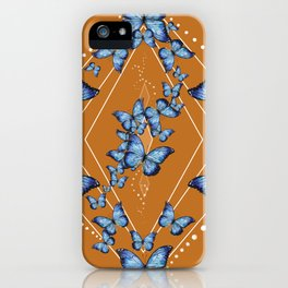 Insecta Pattern - Blue Morpho (Camel) iPhone Case