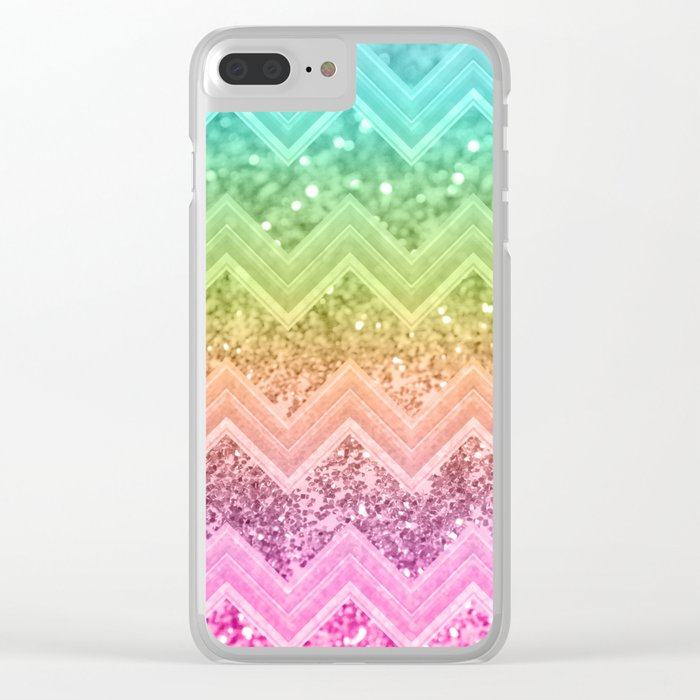 2bbb83ddf9fd Rainbow Glitter Chevron #1 #shiny #decor #art #society6 Clear iPhone Case.  by
