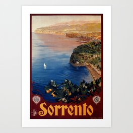Italy Sorrento Bay of Naples vintage Italian travel Art Print