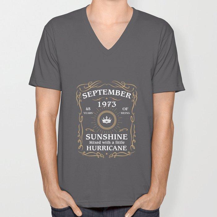 September 1973 Sunshine mixed Hurricane Unisex V-Neck
