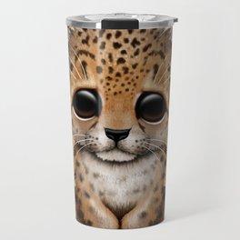 Cute Leopard Cub Dj Wearing Headphones Travel Mug