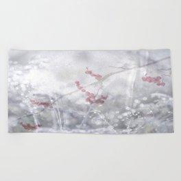 Winter Scene Rowan Berries With Snow And Bokeh #decor #buyart #society6 Beach Towel