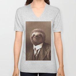 Gentleman Sloth in Sepia Tone Unisex V-Neck