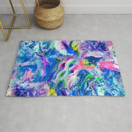 Bathbomb, fluid art, psychedelic art, trippy, psytrance, lsd, acid Rug