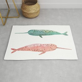 Narwhals on their way Rug