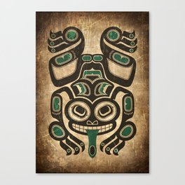 Teal Blue and Black Haida Spirit Tree Frog Canvas Print