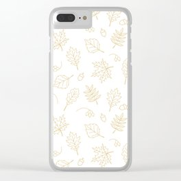 Autumn foliage pattern with gold leaves, acorns Clear iPhone Case