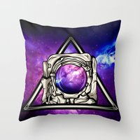 astronaut Throw Pillows featuring Astronaut by Pancho the Macho