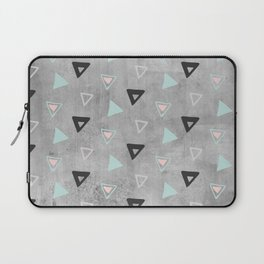 60ies - Black abstract triangle pattern on concrete - Mix&Match with Simplicty of life Laptop Sleeve