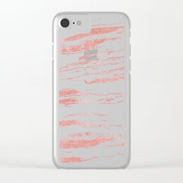 Modern abstract pink marbleized paint. Clear iPhone Case