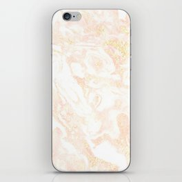 White Marble Pastel Pink and Gold by Nature Magick iPhone Skin