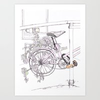 Think Pink! Bicycle and Flowers Art Print
