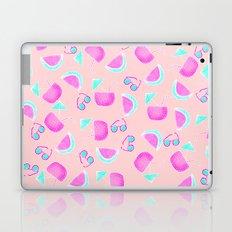 Modern summer tropical watercolor pattern pink turquoise watermelon coconut sunglasses illustration Laptop & iPad Skin