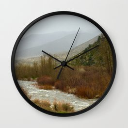 Misty morning riverside Wall Clock