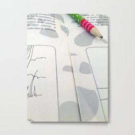 A child's textbook and a pencil Metal Print