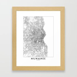 Milwaukee White Map Framed Art Print