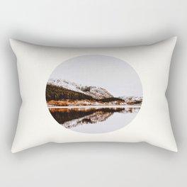 Mid Century Modern Round Circle Photo Graphic Design Reflective Mountain Lake Autumn Forest Rectangular Pillow