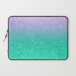 Mermaid purple teal aqua FAUX glitter ombre gradient Laptop Sleeve