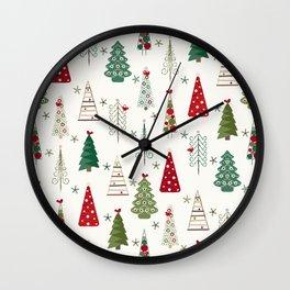 Scandinavian Christmas Trees Pattern - Red Green Wall Clock