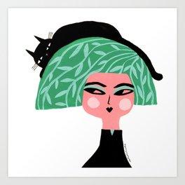 LEAFY HAIR Art Print