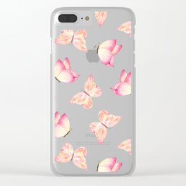 Hand painted pink coral watercolor pretty butterflies Clear iPhone Case