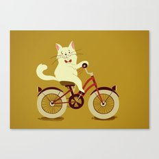 White cat on a bicycle Canvas Print