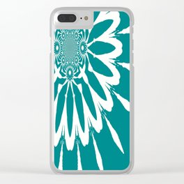 The Modern Flower Teal Clear iPhone Case