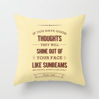 roald dahl Throw Pillows featuring Roald Dahl quote - cream by Dickens ink.