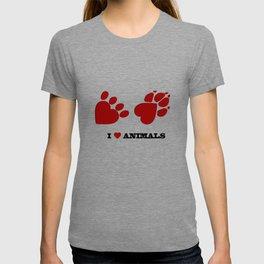 I love animals concept - pet heart paws T-shirt