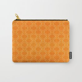 Retro Tangerine Print / Geometric Pattern Carry-All Pouch