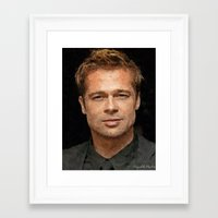 brad pitt Framed Art Prints featuring Hollywood - Brad Pitt by Miguel A. Martin