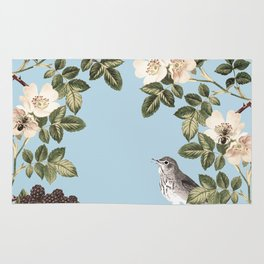 Birds and the Bees Blue Rug