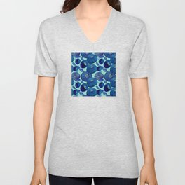 Abstract Watercolor Flower Pattern in Blue Hues Unisex V-Neck