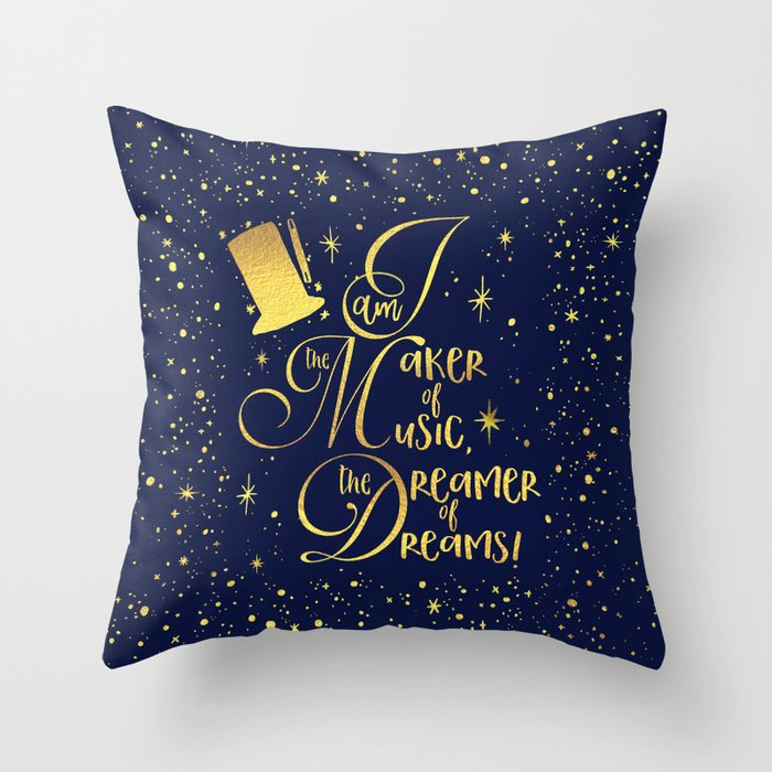 i am the maker of music the dreamer of dreams throw pillow by