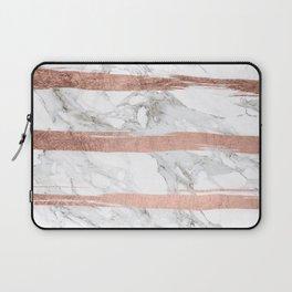 Modern chic faux rose gold brush stripes white marble Laptop Sleeve