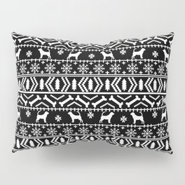 Bloodhound fair isle christmas sweater black and white minimal dog silhouette holiday gifts Pillow Sham