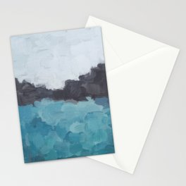 Aqua, Turquoise, Charcoal, Abstract Wall Art Ocean Painting Print, Blue Water, Modern Wall Art Stationery Cards