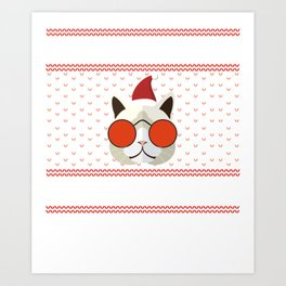 Funny Cat Ugly Christmas Sweater T-Shirt Art Print