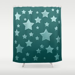 Teal Green Ombre Floating Stars and Herringbone Shower Curtain