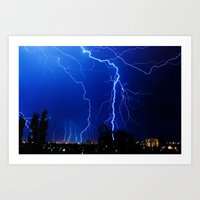 lightning Art Prints featuring Lightning by pakowacz