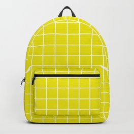 Titanium yellow - yellow color - White Lines Grid Pattern Backpack