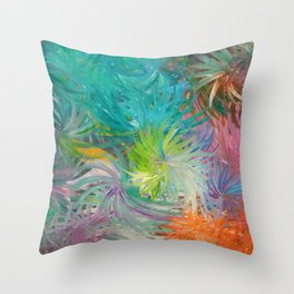 It's time to Flower - Abstract colorful Flowers Throw Pillow