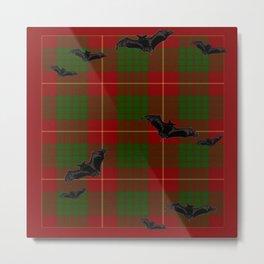 Scottish Tartan Pattern-Black Gothic Bats Art Design Metal Print