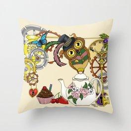 Steampunk Tea Time Owl Throw Pillow