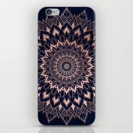 Boho rose gold floral mandala on navy blue watercolor iPhone Skin