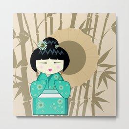 Brown umbrella kokeshi Metal Print