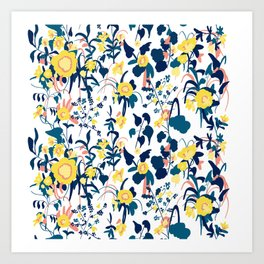 Buttercup yellow, salmon pink, and navy blue flowers on white background pattern Art Print