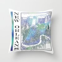 new orleans Throw Pillows featuring New Orleans by Catherine Holcombe